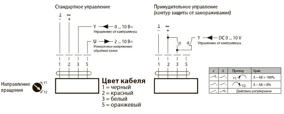Схема подключения контроля положения